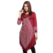 V shaped Kurti for Women Maroon